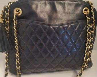 Vitage Bally Quilted Leather Satchel Shoulder Bag. Navy Quilted Soft Leather Purse.  Bally Quilted Navy Gold Chain Purse With Tassel