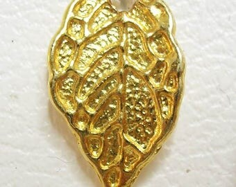 1 gold colored metal leaf Charm