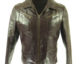 Vintage 60s Leather Jacket Mens 42 Deadstock Brown [H75P_2-5_Leather]