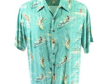 Vintage 90s Reyn Spooner Shirt Mens XL Hawaiian Surf Print Art of Eddy Blue [H69V_0-9]