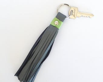 Freya Leather Tassel Key Ring:  Charcoal Grey with Lime Green