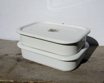 White Enamel Containers, Two Fridge Boxes, Outdoor Dining Picnic Dishes, Lidded Bowls, Rectangular Sandwich Storage Dishes, Enamelware