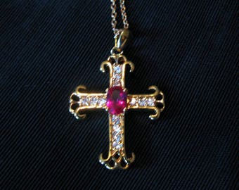Rhinestone cross necklaces costume jewelry