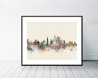 new york city skyline . colorful pop art minimalist watercolors city skylines.new york city poster. giclee art print for home decor.