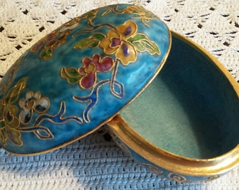 Vintage Cloisonne Trinket Box Stash Box Jewelry Box Floral