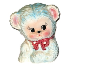 Vintage Relpo Baby Teddy Bear Ceramic Planter Figurine Figure Larger Cottage Chic Pink White Blue Baby Girl Boy Newborn Porcelain Nursery