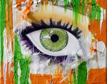 "Fortune - Green Eye , 6"" x 6"" , Original Artwork, Mixed Media on Canvas"