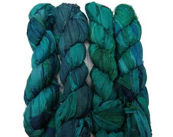 SALE New! Recycled Sari Silk Ribbon, 100g skeins , Teal Medley