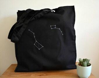 Big dipper Little dipper tote bag - Star constellation - Ursa major - Ursa minor - Astrology - Bag zodiac - Astronomy gifts - Big bear