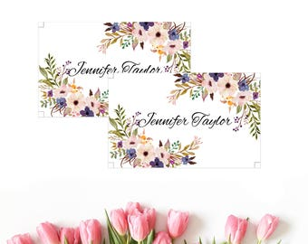 Boho place cards, placement template, name card template, flat place cards, place cards template, place card template, floral place cards,