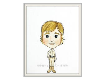 Luke Skywalker inspired/ Fan Art/ Star wars inspired / Original art/ Childrens Wall Art/ Kids Decor/ Wall Art/ Star Wars Fan Art
