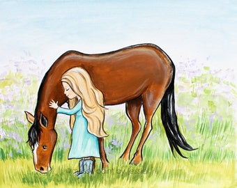 Little Girl With Horse, Children's Wall Art, Horse Lover Art, Painting, Equestrian