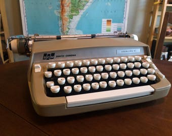 Vintage Tan-Colored 1960s Smith Corona Super Sterling Typewriter with 12in Platen - Very Nice Working Condition
