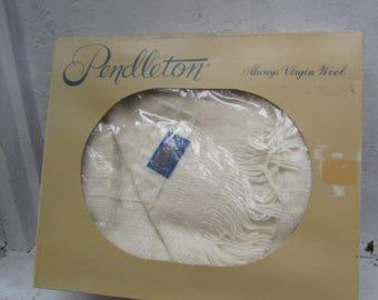 Vtg/ Pendleton Wool Blanket. Portland, Oregon. In Original Box.  Pendleton Woolen Mills, 100% Virgin Wool Throw Blanket. Vintage