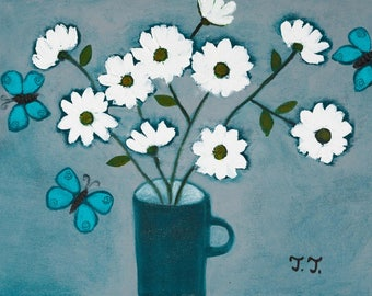 Grey Floral Painting, White Daisy Artwork, Turquoise Butterflies, White Flowers Painting, Butterfly Painting, Romantic Art, Contemporary Art