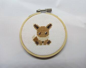 Eevee Cross Stitch Hoop