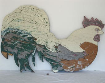 Vintage Folk Art/Hand Painted Wooden Barn Rooster