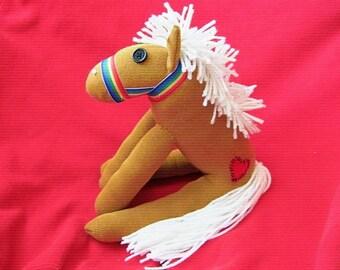 Sock Monkey Horse Wildfire Palomino Toy Doll Handmade Stuffed Animal Plush
