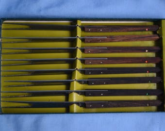 Vintage Fondue Forks, Wood and Stainless Steel, Mid-Century, Set of 8