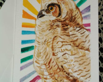 Primo - Sun Bath.  Great Horned owlet WATERCOLOR greeting card - ORIGINAL - Hand painted - FREE Shipping!