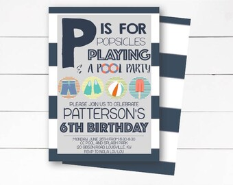 Pool Party Invitation, Boy Pool Party Invitation, Summer Birthday Party, Popsicle Party Invite, Pool Birthday Invite, DIY or Printed