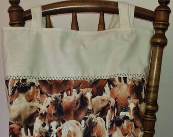 Horses for Courses TOTE Handmade by Bronwyn Lined Box Basse Browns Creams Free Post