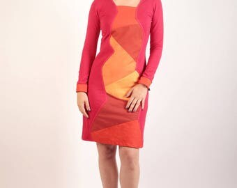 Dilyal moletonne red and orange cotton dress