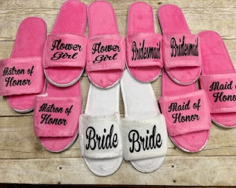 Wedding Party Slippers/ Bridal Party Slippers/ Bridesmaid Slippers/ Bride Slippers/ Wedding Party Gifts/ Spa Slippers Personalized