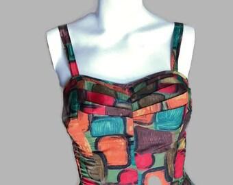 Vintage 1950's Swimsuit / Fifties rayon playsuit / Novelty print / Orange mod playsuit / Size S / Strawbridge and Clothier