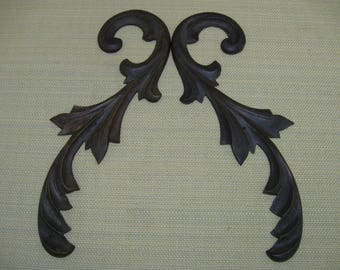 Fancy Victorian Carved Walnut Wood Furniture Trim Pieces ( Pair )