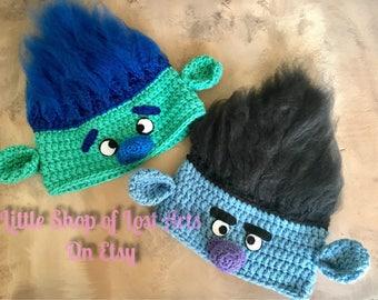 Branch inspired by the Trolls movie handmade crochet hat