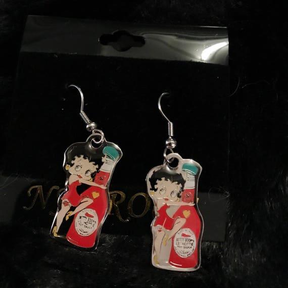 Betty Boop & her hot sauce Earrings - stocking stuffers : )
