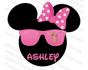 Personalized Minnie with Sunglasses Disney Cruise Door Magnet