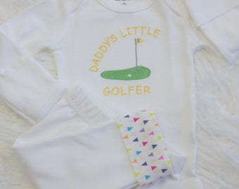 Newborn Girl Take Home Outfit. Daddy's Little Golfer Embroidered Bodysuit. Knit Pants w/ Adjustable Cuffs. Coming Home Hospital Outfit