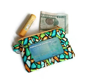 Stained glass fabric zippered id wallet keychain: orange and green with clear id pocket. Stocking stuffer. Gift for her under 15.