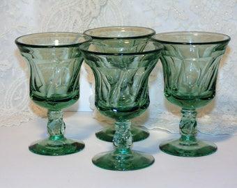 Jamestown Green Swirl Juice Goblets, Imperial Glass, Vintage Glasses, Set of 4, Footed Juice Glasses, Vintage Kitchen Glassware