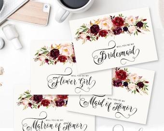 Will You Be My Bridesmaid Printable set, DIY Wedding Bridal Proposal, Marsala Blush Watercolor flowers, DIGITAL FILES WS28
