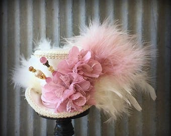 ON SALE Mini Top hat Pink, Blush hat, Alice in Wonderland, Mad Hatter Hat, Wedding Mini top hat, Tea Party Hat, Royal Ascot, Kentucky Derby