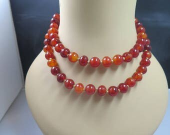 Hattie Carnegie Carnelian-look Necklace and Earrings