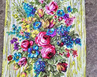 Fifties French floral tea towel Philibert, Paris.