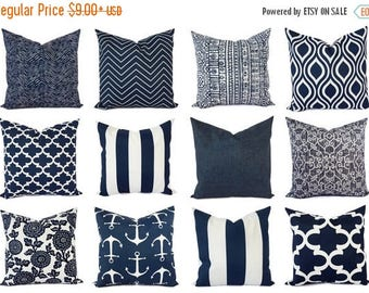 15% OFF SALE OUTDOOR Pillow - Navy Pillow Cover - Blue Throw Pillow Cover - Navy Outdoor Pillow - Decorative Pillow - Patio Pillow Sham - Bl