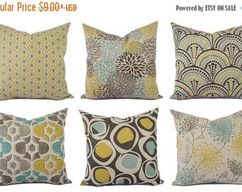 15% OFF SALE Decorative Pillow Yellow Blue and Beige - Decorative Pillow - Brown Blue Taupe Pillow - Accent Pillow Covers - Yellow Pillows -