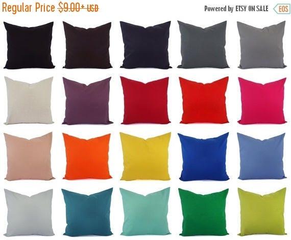 OFF SALE Cotton Linen Blend Pillow Cover Solid Pillow