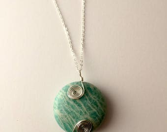 Amazonite Necklace with sterling silver spirals