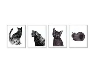 Black Cats Print Set Of 4 Art Prints Minimalist Black and White Prints Black Cat Decor Cat Prints Watercolor Painting Unframed Wall Decor