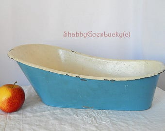 Large antique 1920s doll bathtub made of tin, blue white 16 inches doll bathroom bath tub, vintage doll furniture for large dolls or bears