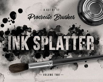 Set of 17 Ink splatter Procreate Brushes  - For the iPad app Procreate - Digital brushes - Digital art resources