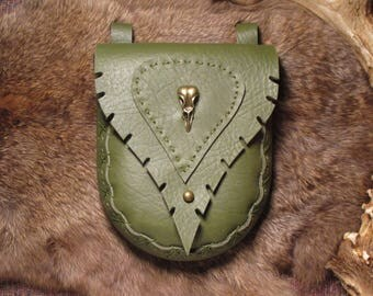 Leaf-styled green bull hide leather belt pouch with brass raven skull pendant and button stud clasp, all hand-stitched #1173
