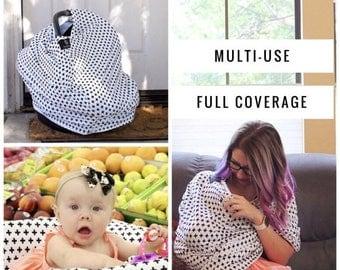 ON SALE Nursing Cover Scarf, Breastfeeding Scarf, Nursing Poncho, Nursing Scarf, Infinity Scarf, Breastfeeding Cover, BLACK Crosses