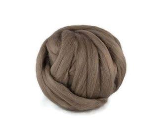 SALE Superfine Merino wool roving 19 microns, 4 oz, Color: Ash